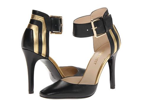 Pantofi Nine West - Legna - Black/Oro Leather
