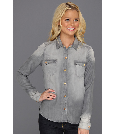 Bluze 7 For All Mankind - Flap Pocket Denim Shirt in Grey - Grey