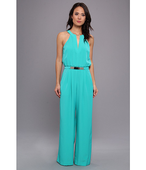 Pantaloni Vince Camuto - Sleeveless V-Neck Jumpsuit w/ Metal Belt - Green