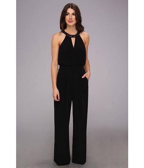 Pantaloni Vince Camuto - V-Neck Sleeveless Jumpsuit w/ Rhinestone Placet - Black