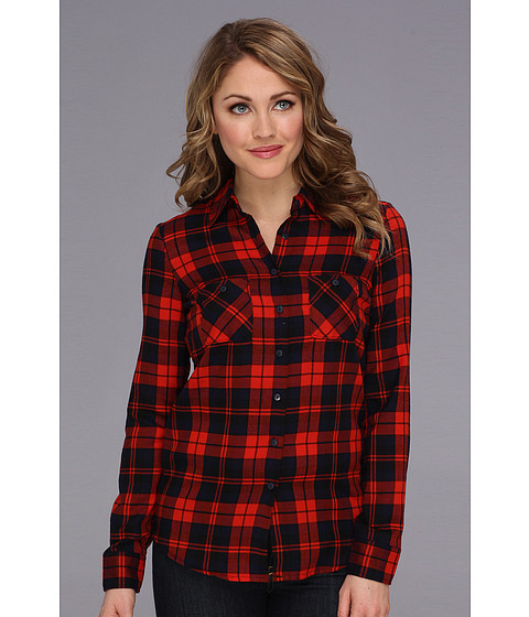 Camasi BCBGeneration - Plaid Button-Up Shirt - Bright Red-Galaxy Combo