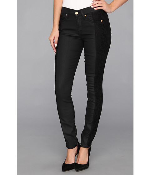 Blugi 7 For All Mankind - The Lace Pieced Skinny in Black/Lace Jeather - Black/Lace Jeather
