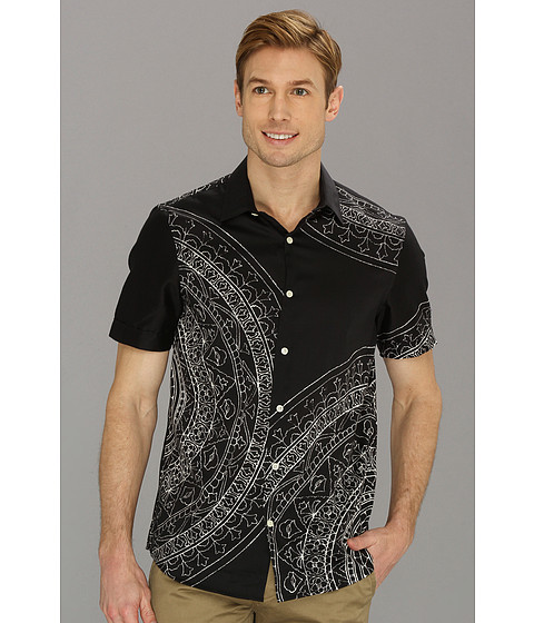 Camasi Perry Ellis - Slim Fit Medallion Print S/S Shirt - Black