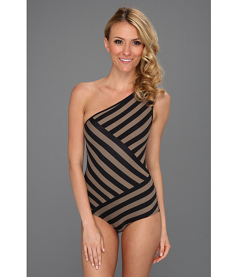 Costume de baie DKNY - Chic Stripes Spliced One Shoulder Maillot w/ Removable Soft Cups - Antique
