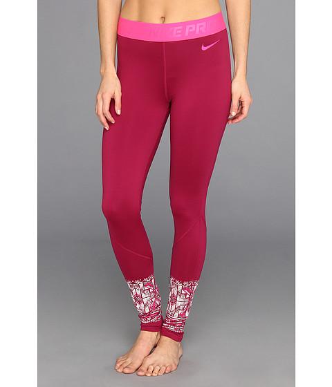 Pantaloni Nike - Nike Pro Hyperwarm Mosaic Tight - Raspberry Red/Pink Frost