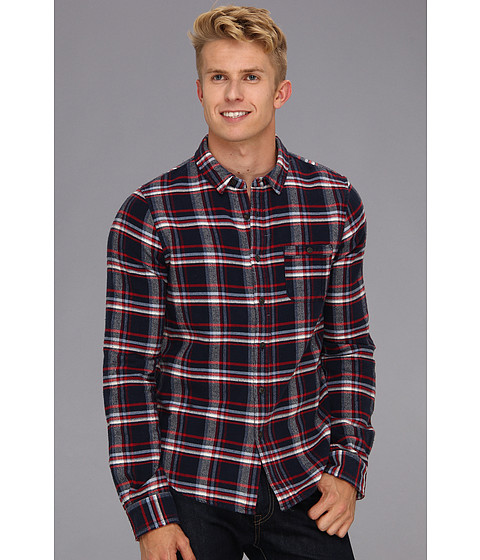 Camasi Joes Jeans - Relaxed Single Pocket Woven Plaid Shirt - Dark Navy/Red