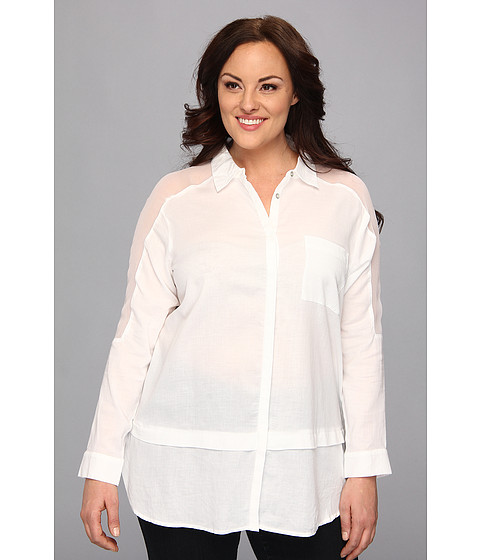 Bluze DKNY - Plus Size Twill And Chiffon Mix Media Top - White
