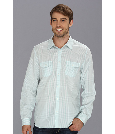 Camasi Calvin Klein - YD Plaid Cotton Linen Chambray Slub Shirt - Light Mint