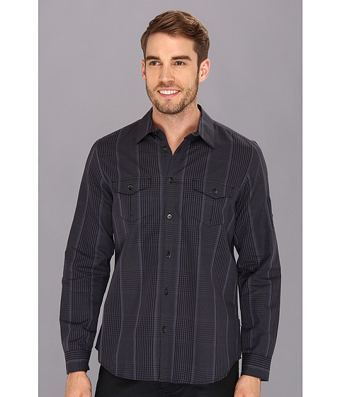 Camasi Calvin Klein - YD Plaid Cotton Linen Chambray Slub Shirt - Black