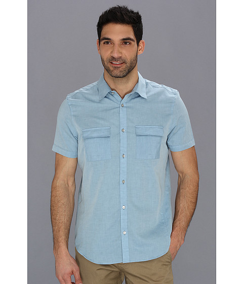 Camasi Calvin Klein - YD Cotton Linen Chambray Slub Shirt - Aegean Blue
