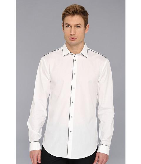 Camasi John Varvatos - Slim Fit Shirt w/ Piping Detail - Salt