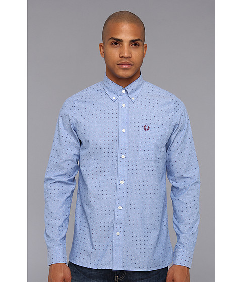 Camasi Fred Perry - Double Dot L/S Shirt - Turquoise/White/Port