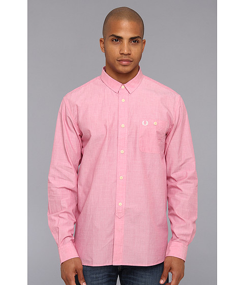 Camasi Fred Perry - L/S End On End Shirt - Pink/White/Medieval Blue