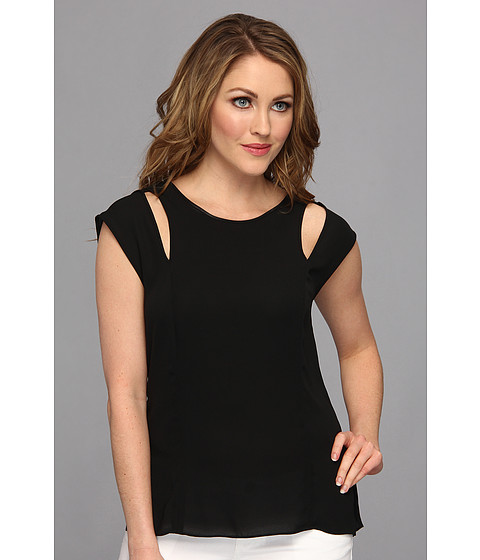 Bluze BCBGMAXAZRIA - Valery Cutout Cap Sleeve Top - Black