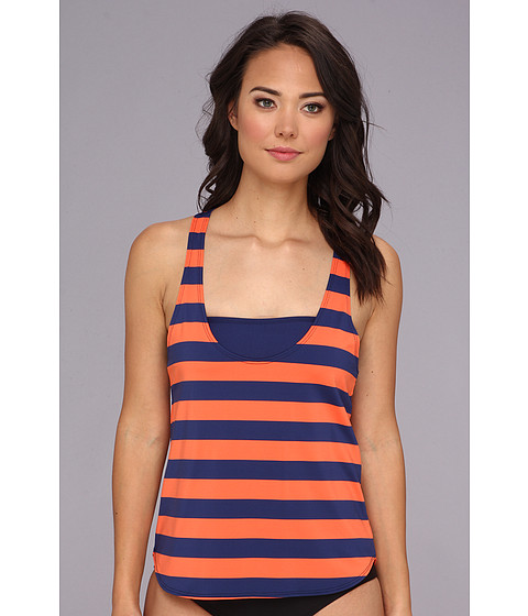 Costume de baie Splendid - Marcel Stripe Double Dip - Navy/Orange