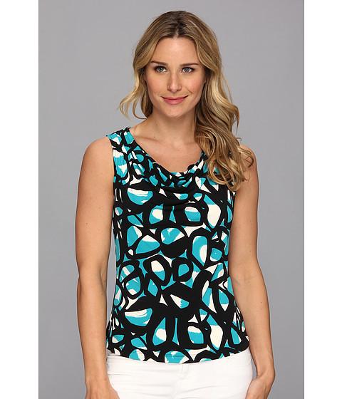 Bluze Calvin Klein - Cirlce Print Drape Neck Cami - Lagoon Multi