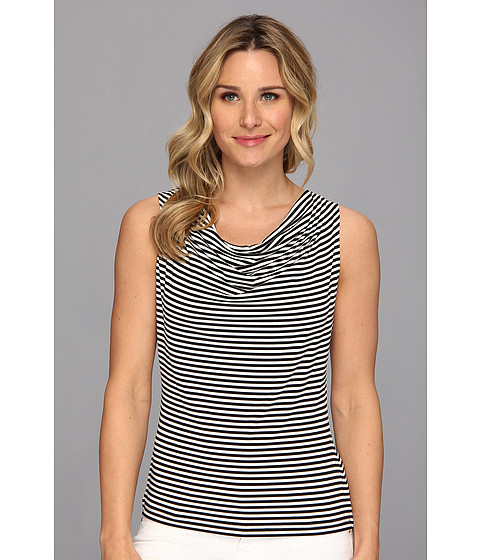 Bluze Calvin Klein - Striped Drape Neck Cami - Black/Cream