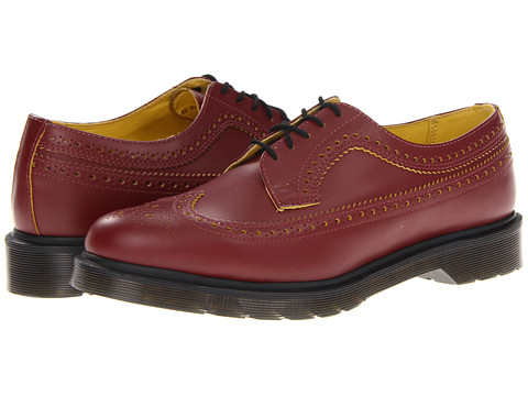Pantofi Dr. Martens - 3989 Brogue Shoe - Cherry Red/Yellow Smooth Slice