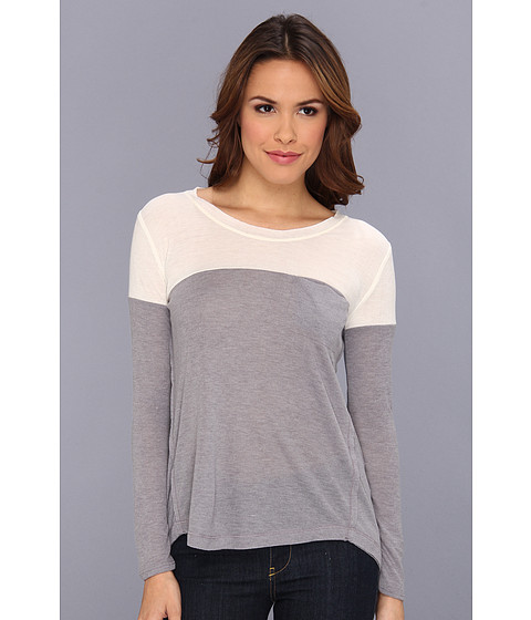 Bluze Splendid - Drapey Rib Color Block Long Sleeve - Heather Grey