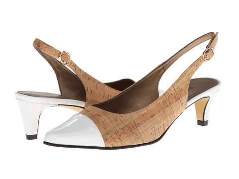 Pantofi Vaneli - Tevis - Natural Ecco Cork/White Ferns Patent