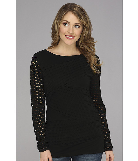 Bluze Vince Camuto - L/S Perforated Zig Zag Top - Rich Black