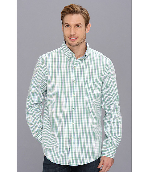 Camasi IZOD - Long Sleeve Slim Fit Fashion Essential Medium Check Button-Down - Malachite