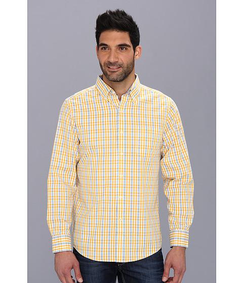 Camasi IZOD - Long Sleeve Slim Fit Fashion Essential Medium Check Button-Down - Old Gold