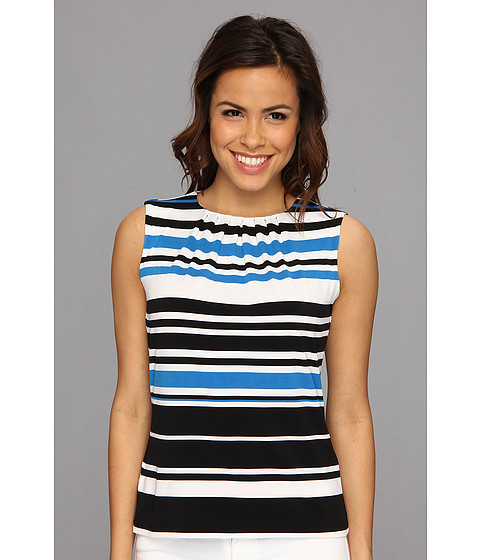 Bluze Calvin Klein - Multi Color Stripe Pleat Neck - Aegn Multi