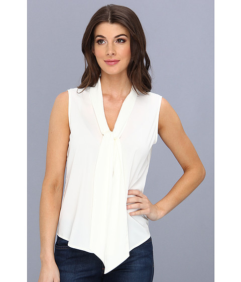 Bluze Calvin Klein - Sleeveless Tie Neck Blouse - Cream