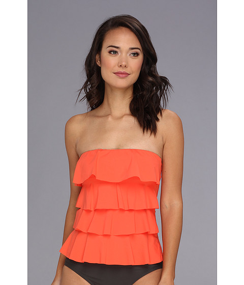 Costume de baie MICHAEL Michael Kors - Ruffle Solids Cascading Front Ruffle Tankini - Hot Coral