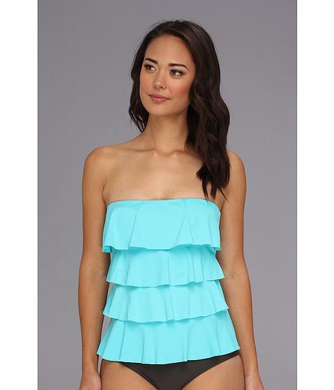 Costume de baie MICHAEL Michael Kors - Ruffle Solids Cascading Front Ruffle Tankini - Turquoise