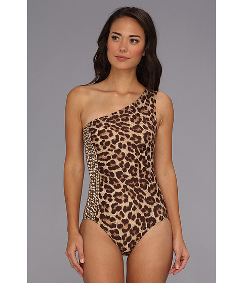 Costume de baie MICHAEL Michael Kors - Tunisia Cheetah One Shoulder Side Shirred Maillot - Milk Chocolate
