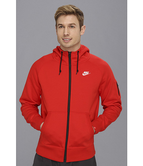 Bluze Nike - AW77 Fleece FZ Hoodie - Challenge Red/White