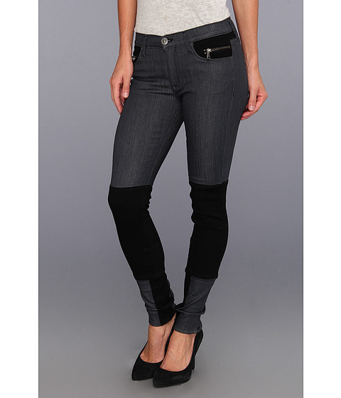 Blugi Hudson - Newton Patchwork Super Skinny in Black Shadow - Black Shadow