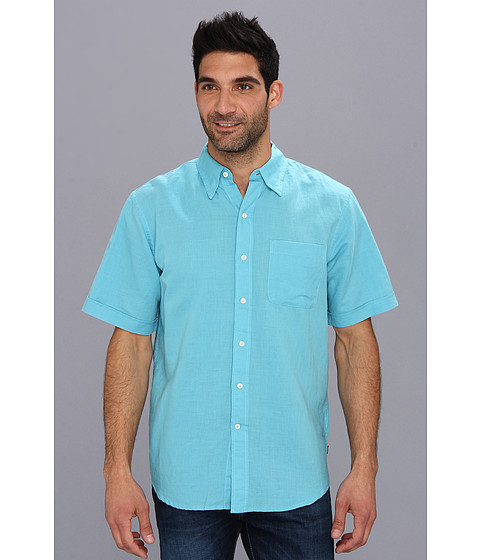 Camasi IZOD - Short Sleeve Solid Linen Cotton Button-Down - Maui Blue