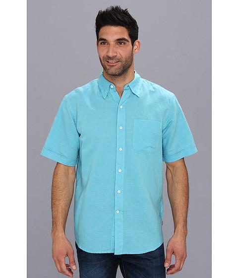 Camasi IZOD - Short Sleeve Solid Linen Cotton Button-Down - Maui Blue