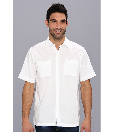 Camasi IZOD - Short Sleeve Solid Pointed Collar Button-Down - Bright White