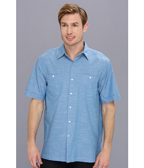 Camasi IZOD - Short Sleeve Solid Pointed Collar Button-Down - Deep Water