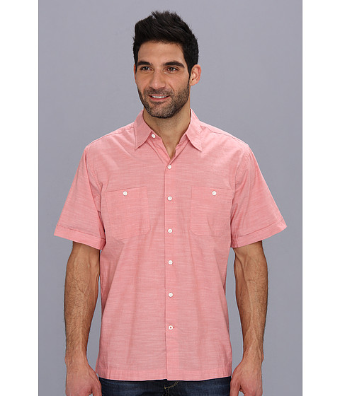 Camasi IZOD - Short Sleeve Solid Pointed Collar Button-Down - Faded Rose