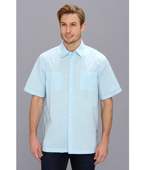 Camasi IZOD - Short Sleeve Solid Pointed Collar Button-Down - Sky Blue