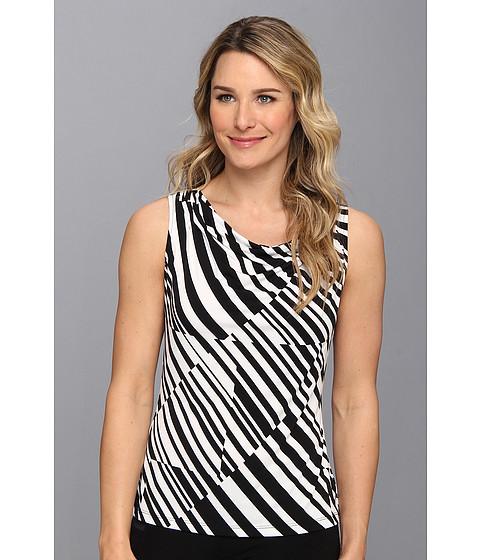 Bluze Calvin Klein - Cross Stripe Drape Neck Print - Black/White