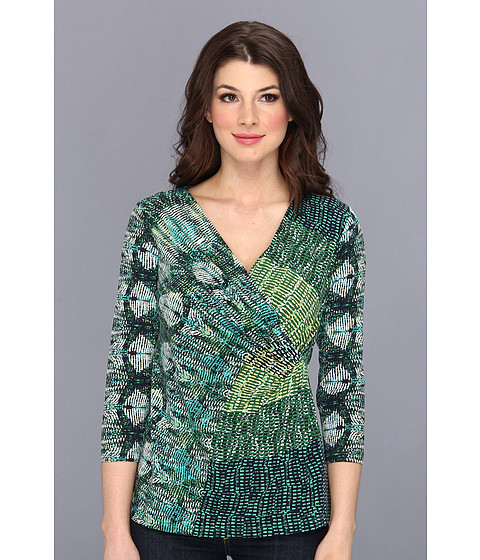 Bluze NIC+ZOE - Green Meadows Wrap Top - Multi