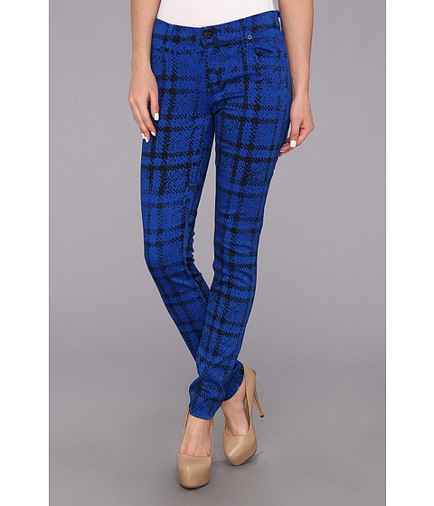 Blugi 7 For All Mankind - The Skinny in Cobalt Blue Plaid - Cobalt Blue Plaid