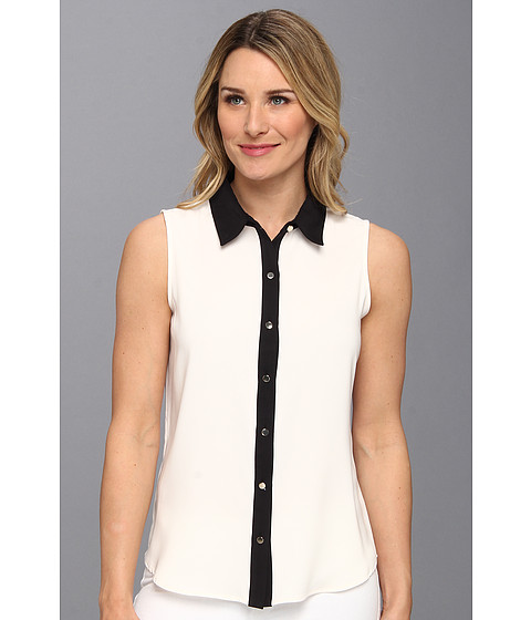 Camasi Calvin Klein - Sleeveless Color Block Button Down - Cream/Black