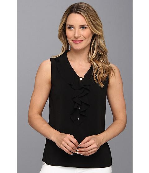 Bluze Calvin Klein - Sleeveless Ruffle Front w/ Button Details - Black
