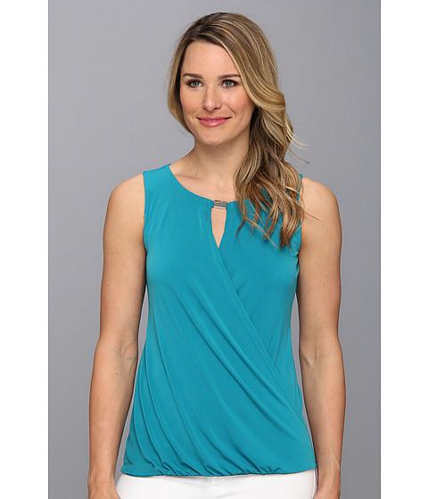 Bluze Calvin Klein - Matte Jersey (DRY) AO S/L Drape Top w/ Hardware - Lagoon