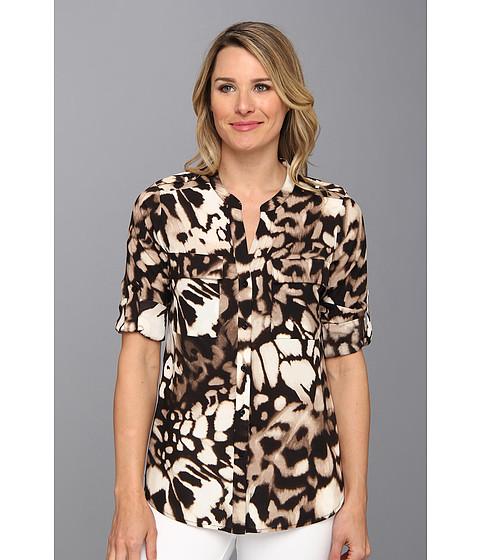 Camasi Calvin Klein - Poly CDC Print Crew Neck Roll Sleeve - Birch Combo