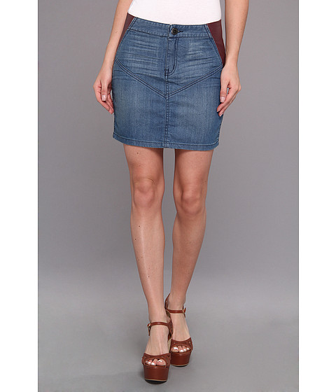 Fuste BCBGeneration - Denim/Fx Leather Skirt - Agean Blue