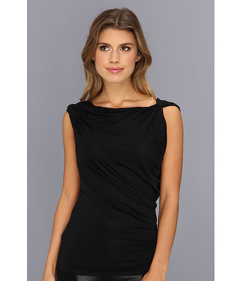 "Bluze BCBGMAXAZRIA - \""Jela\"" Top With Asymmetrical Drape Back - Black"
