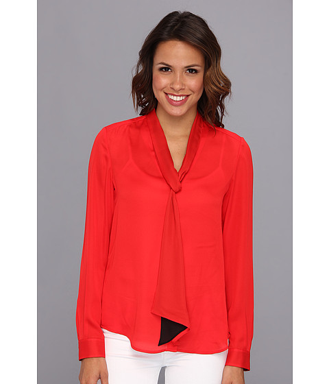 Bluze Anne Klein New York - L/S Tie Neck Blouse - Red/Black